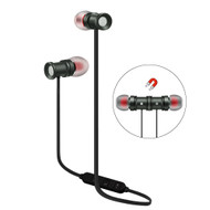 Magnetic Earbuds Bluetooth 4.1 Wireless Aluminum Alloy Headphones - Space Grey Black