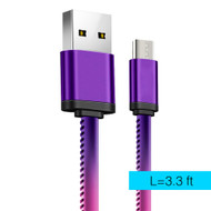 Thermal Sensing Micro USB Connector to USB Charge and Sync Cable - Purple