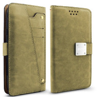 *SALE* Cosmopolitan Leather Canvas Wallet Case with Slide Out Mirror for LG Aristo / Fortune / Phoenix 3 - Grey