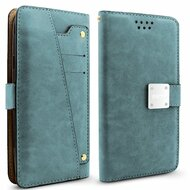 *SALE* Cosmopolitan Leather Canvas Wallet Case with Slide Out Mirror for Samsung Galaxy S8 Plus - Blue