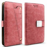 Cosmopolitan Leather Canvas Wallet Case with Slide Out Mirror for Samsung Galaxy J7 (2017) / J7 V / J7 Perx - Pink
