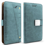 Cosmopolitan Leather Canvas Wallet Case with Slide Out Mirror for Samsung Galaxy J7 (2017) / J7 V / J7 Perx - Blue