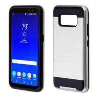 Brushed Hybrid Armor Case for Samsung Galaxy S8 Active - Silver