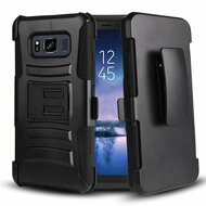 Advanced Armor Hybrid Kickstand Case with Holster Belt Clip for Samsung Galaxy S8 Active - Black