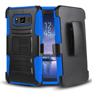 Advanced Armor Hybrid Kickstand Case with Holster Belt Clip for Samsung Galaxy S8 Active - Black Blue