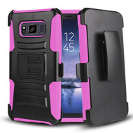 Advanced Armor Hybrid Kickstand Case with Holster Belt Clip for Samsung Galaxy S8 Active - Black Hot Pink