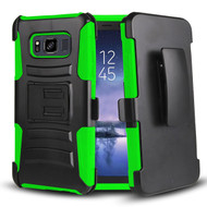 Advanced Armor Hybrid Kickstand Case with Holster Belt Clip for Samsung Galaxy S8 Active - Black Green