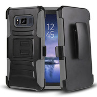 Advanced Armor Hybrid Kickstand Case with Holster Belt Clip for Samsung Galaxy S8 Active - Black Grey