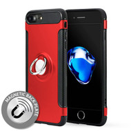 Carbon Edge Sports Hybrid Armor Case with Ring Holder for iPhone 7 Plus - Red