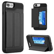 Roll Up Card Wallet Hybrid Kickstand Case for iPhone 7 - Black