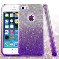 Full Glitter Hybrid Protective Case for iPhone SE / 5S / 5 - Gradient Purple