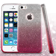 Full Glitter Hybrid Protective Case for iPhone SE / 5S / 5 - Gradient Hot Pink