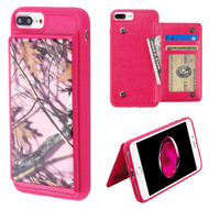 Pocket Wallet Case with Stand for iPhone 8 Plus / 7 Plus / 6S Plus / 6 Plus - Pink Oak Camouflage