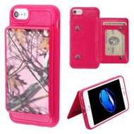 Pocket Wallet Case with Stand for iPhone 8 / 7 / 6S / 6 - Pink Oak Camouflage