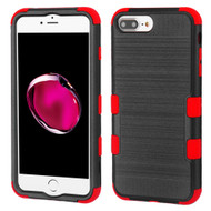 Military Grade Certified Brushed TUFF Hybrid Armor Case for iPhone 8 Plus / 7 Plus / 6S Plus / 6 Plus - Black Red