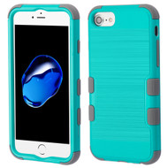 Military Grade Certified Brushed TUFF Hybrid Armor Case for iPhone 8 / 7 / 6S / 6 - Teal Green Grey