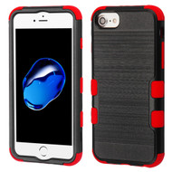 Military Grade Certified Brushed TUFF Hybrid Armor Case for iPhone 8 / 7 / 6S / 6 - Black Red