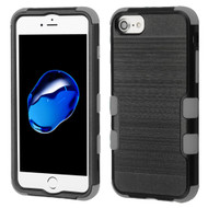Military Grade Certified Brushed TUFF Hybrid Armor Case for iPhone 8 / 7 / 6S / 6 - Black Grey