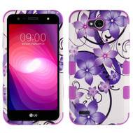 Military Grade Certified TUFF Image Hybrid Armor Case for LG X Power 2 / Fiesta - Purple Hibiscus Flower Romance
