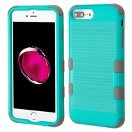 Military Grade Certified Brushed TUFF Hybrid Armor Case for iPhone 8 Plus / 7 Plus / 6S Plus / 6 Plus - Teal Green Grey