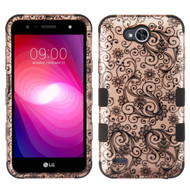 Military Grade Certified TUFF Image Hybrid Armor Case for LG X Power 2 / Fiesta - Leaf Clover Rose Gold