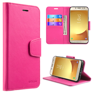 Urban Classic Leather Wallet Case for Samsung Galaxy J7 (2017) / J7 V / J7 Perx - Hot Pink