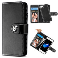 2-IN-1 Premium Leather Wallet with Removable Magnetic Case for iPhone 8 / 7 / 6S / 6 - Black