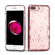 TUFF Panoview Transparent Hybrid Case for iPhone 8 Plus / 7 Plus - Hibiscus Flower Rose Gold