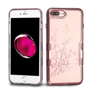 TUFF Panoview Transparent Hybrid Case for iPhone 8 Plus / 7 Plus - Spring Flowers Rose Gold