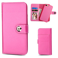 2-IN-1 Premium Leather Wallet with Removable Magnetic Case for iPhone 8 Plus / 7 Plus / 6S Plus / 6 Plus - Hot Pink