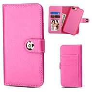 *SALE* 2-IN-1 Premium Leather Wallet with Removable Magnetic Case for iPhone 8 Plus / 7 Plus / 6S Plus / 6 Plus - Pink