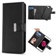 2-IN-1 Premium Tri-Fold Leather Wallet + Removable Magnetic Case for iPhone 8 Plus / 7 Plus / 6S Plus / 6 Plus - Black