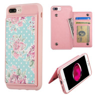 Pocket Wallet Case with Stand for iPhone 8 Plus / 7 Plus / 6S Plus / 6 Plus - Roses