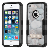 Military Grade Certified TUFF Image Hybrid Armor Case with Stand for iPhone SE / 5S / 5 - Rocky Pebbles