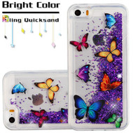 Quicksand Glitter Transparent Case for iPhone SE / 5S / 5 - Butterfly Dancing