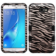 Military Grade Certified TUFF Image Hybrid Armor Case for Samsung Galaxy J7 (2017) / J7 V / J7 Perx - Zebra Rose Gold