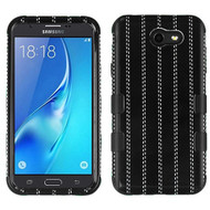 Military Grade Certified TUFF Image Hybrid Armor Case for Samsung Galaxy J7 (2017) / J7 V / J7 Perx - Black Striped Suit