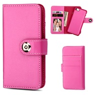 2-IN-1 Premium Leather Wallet with Removable Magnetic Case for iPhone 8 / 7 / 6S / 6 - Hot Pink