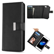 2-IN-1 Premium Tri-Fold Leather Wallet with Removable Magnetic Case for iPhone 8 / 7 / 6S / 6 - Black