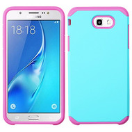 Hybrid Multi-Layer Armor Case for Samsung Galaxy J7 (2017) / J7 V / J7 Perx - Teal Green Hot Pink