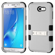 Military Grade Certified TUFF Hybrid Armor Case with Stand for Samsung Galaxy J7 (2017) / J7 V / J7 Perx - Grey