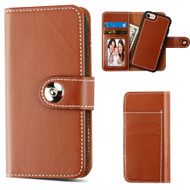 2-IN-1 Premium Leather Wallet with Removable Magnetic Case for iPhone 8 / 7 / 6S / 6 - Brown