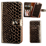 2-IN-1 Premium Leather Wallet with Removable Magnetic Case for iPhone 8 Plus / 7 Plus - Crocodile