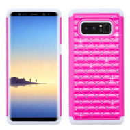 *Sale* TotalDefense Diamond Hybrid Case for Samsung Galaxy Note 8 - Hot Pink White