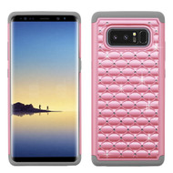 TotalDefense Diamond Hybrid Case for Samsung Galaxy Note 8 - Pearl Pink Grey