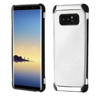 Chrome Tough Anti-Shock Hybrid Case with Leather Backing for Samsung Galaxy Note 8 - Silver