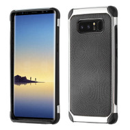 Chrome Tough Anti-Shock Hybrid Case with Leather Backing for Samsung Galaxy Note 8 - Black