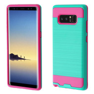 *Sale* Brushed Hybrid Armor Case for Samsung Galaxy Note 8 - Teal Green Hot Pink