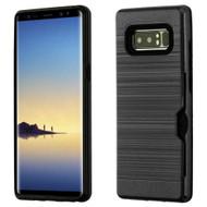ID Card Slot Hybrid Case for Samsung Galaxy Note 8 - Black