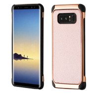 Electroplated Tough Hybrid Case with Leather Backing for Samsung Galaxy Note 8 - Rose Gold